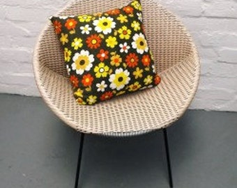 1960s' vintage floral fabric cushion