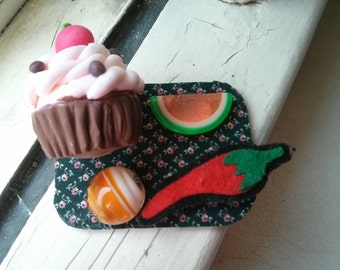 Handmade set of four upcycled big cupcake, glass candy, felt pepper and plastic half watermelon into magnets