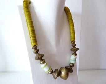 Yellow African beads necklace