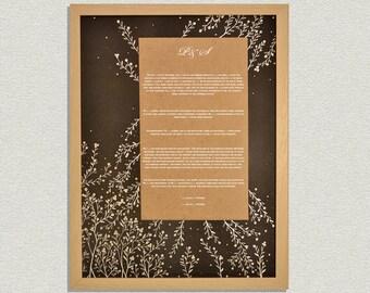 Custom Handmade Ketubah with Gold Ink drawing Home Wall Art Modern Silver Tree Ketubah Wedding Wedding Vow