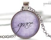 Grace Necklace, One Word Jewelry, Inspirational Charm, Purple Pendant, Your Choice of Finish (1918)