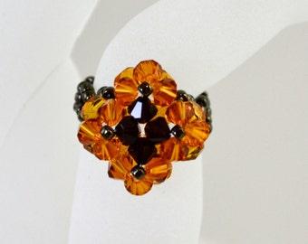 Topaz and Garnet Swarovski Beaded Ring