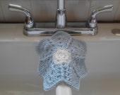 Blue Organic Hemp Washcloth, Knit Washcloth, Hemp Washcloth, Cotton Washcloth, Bath Accessories, Dishcloth, Knit Dishcloth, Flower Dishcloth