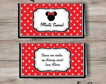 Minnie Mouse Treat Bag Topper with personalized Editable Text, Minnie Mouse Treat Bag Topper with Changeable Text, Minnie Treat Bag Topper