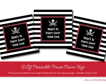 Pirate Party Favor Tags with Editable Text, Printable Pirate Favor Tags, DIY Pirate Party Tags, Pirate Party Thank You Tags, Pirate Party
