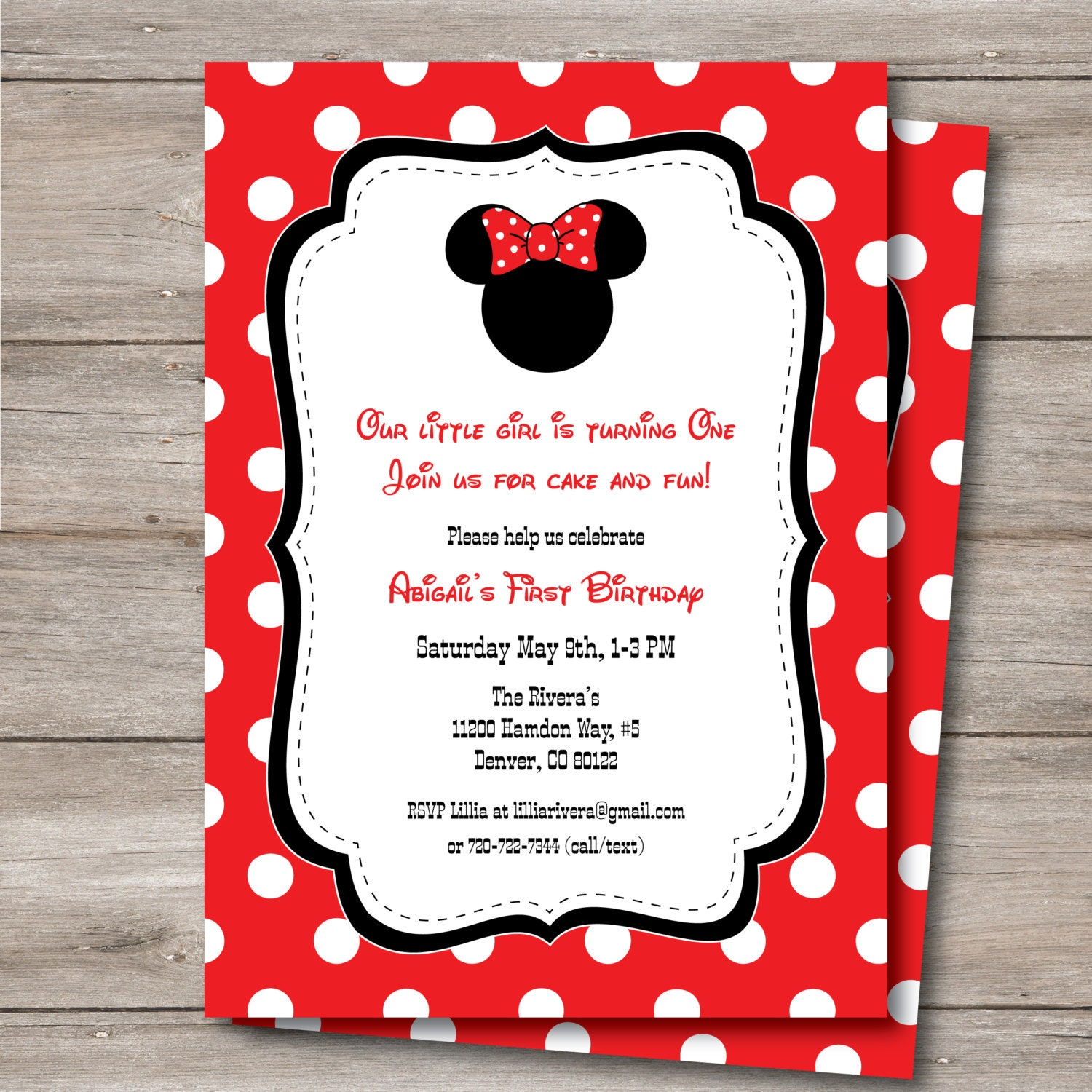 Minnie Mouse Invitation with Editable Text DIY Printable