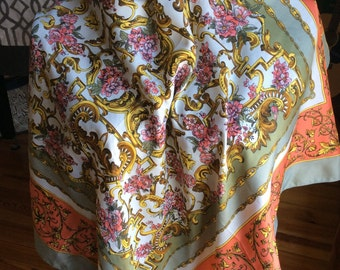 Vintage Scarf Italian Grey, Gold Pinks Couture