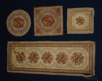 4 Tapestry Embroidered Piano/Table Doilies (Doily) Gold Thread Floral