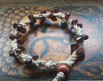 Garnet Hemp Bracelet