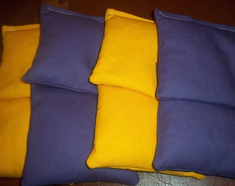 8 ACA Regulation Cornhole Bags - 4 Purple and 4 Yellow Bags