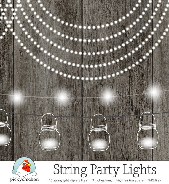 Outdoor Party Lights Clipart: String Lights Clipart Fairy Lights Chalkboard Party Lights