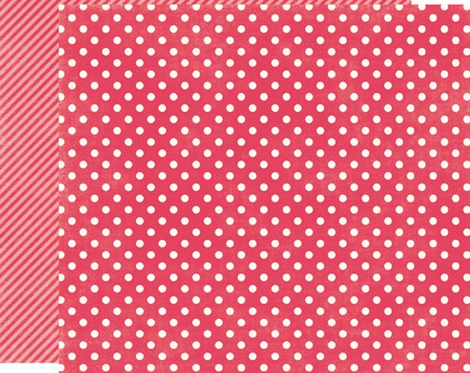 2 Sheets of Echo Park Paper DOTS & STRIPES Soda Fountain 12x12 Scrapbook Paper - Strawberry Small Dots