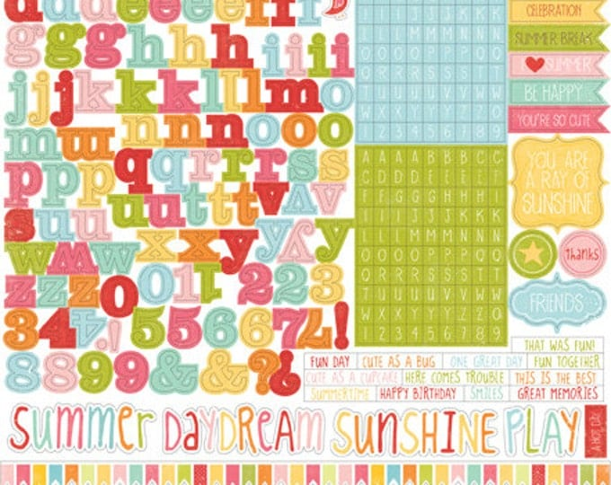 1 Sheet of Echo Park Paper HELLO SUMMER 12x12 Scrapbook Alpha (Alphabet) Stickers