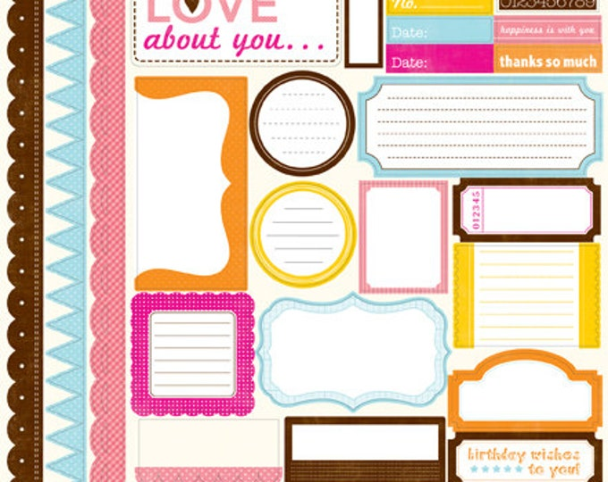 1 Sheet of Echo Park Paper DOTS & STRIPES Candy Shoppe 12x12 Scrapbook Element Stickers