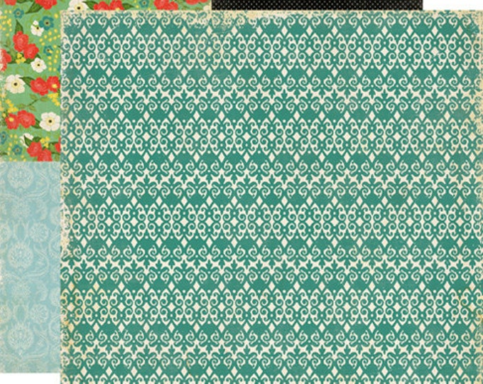 2 Sheets of Echo Park Paper FOR THE RECORD 12x12 Scrapbook Paper - Picket Fence