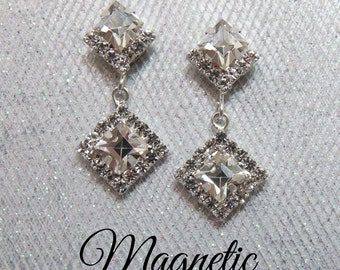 Magnetic clip earrings, silver plated princess cut dangle