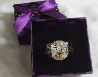 Steampunk Ring, Vintage Watch Movement, Watch Movement Ring,  Filigree Ring