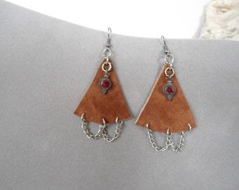 Chandelier Earrings Leather Large Rustic Jewelry Bohemian Handmade Sundance Style Hippie