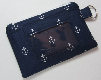 Navy Anchor / Nautical Keychain ID Wallet w/ Split Ring, Student / Teacher / Work ID, Badge Holder, Zip Pouch - 2 Options for ID Pocket