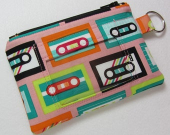 Cassette / Mix Tape Keychain ID Wallet w/ Split Ring, Student / Teacher / Work ID, Badge Holder, Zip Pouch - 2 Options for ID Pocket