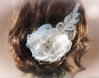 Off White Bridal Flower Hair Piece - Bridal Flower Hair Piece - Wedding Headband - Wedding Hair Accessories