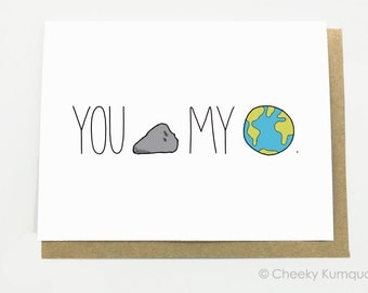 Love Card - Anniversary Card - Card for Girlfriend - Card for Boyfriend - You Rock My World.
