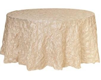 120 Inch Round Pinwheel Pinched Taffeta Tablecloth Ivory | Wedding Tablecloths