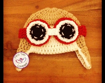 Newborn Crochet Aviator Hat with Goggles, pilot hat, aviator, pilot, goggles, newborn photography, crochet aviator hat