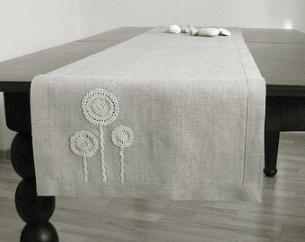 Natural linen table runner decorated with handmade flowers motifs- unbleached- natural gray linen color