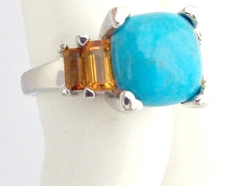 Citrine Turquoise Ring Sterling Silver