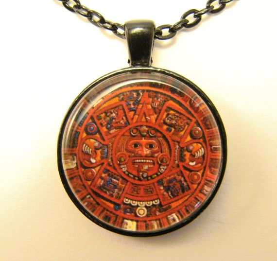 Aztec Calendar Necklace: AZTEC CALENDAR Necklace Traditional Aztec Calendar In Red
