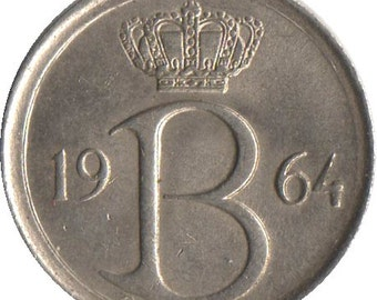 Belgium 25 centimes coin - 1970 - Monogram B - Initial B - Belgique - km 153 - 16 mm - like uncirculated