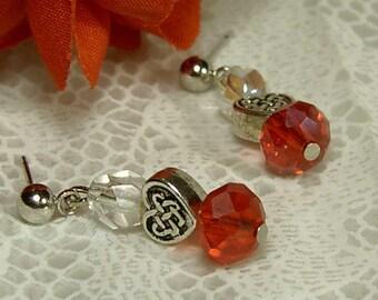"Cynthia Lynn ""TRUE LOVE"" Clear Czech Fire Polished Crystal & Red Glass Crystal Silver Heart Earrings 1 inch"