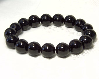"Cynthia Lynn ""SIMPLE ELEGANCE"" Chunky 14mm Black Agate Beaded Stretch Bracelet 7.5"""