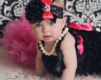 Black Headband/Easter Headband/Hot Pink Headband/Infant Headband/Baby Headband/Newborn Headband/Toddler Headband/Girl Headband/Pink Headband