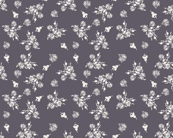 Riley Blake Designs Fabric Think Pink White Flowers on Gray C3702--1/2 yard