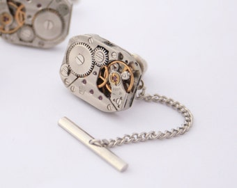 Steampunk Tie Tack with Chain ONLY Mens Silver Tie Pin Watch Movement Wedding Mens Accessories Metal Tie Tack Clutch and Chain