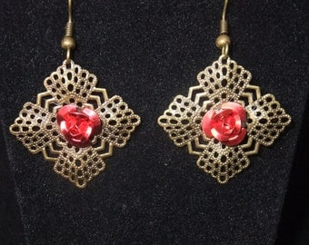 Antique Gold Earrings with Red Rose