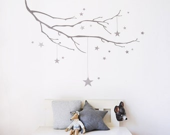 Winter Branch with Stars Fabric Wall Sticker