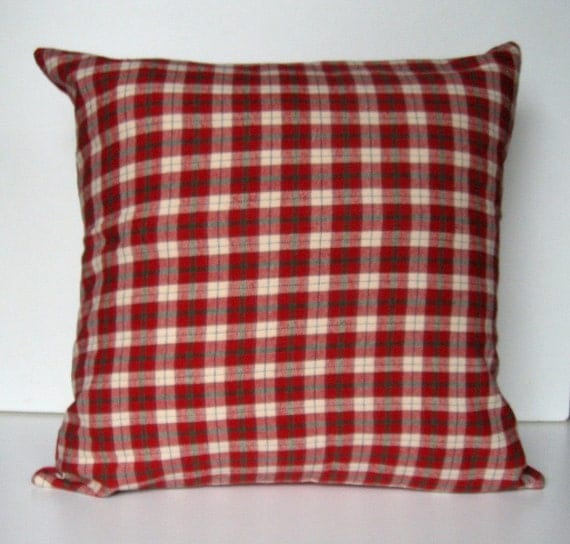 Red Plaid Throw Pillow Cover : Plaid Flannel Pillow Cover, Throw Pillow, Check Plaid, Winter, Home Decor, comfy, soft, Red ...