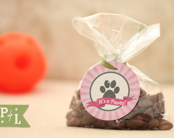 """Puppy party favors, dog party favors—pink dog party supplies that say """"Good Dog"""" and """"Its a Pawty!"""""""