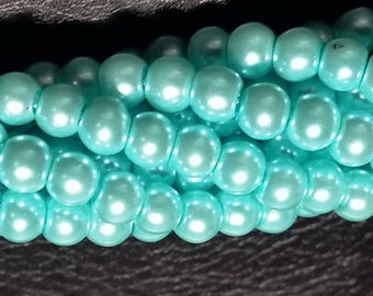 Arctic Blue round glass pearls - 6mm