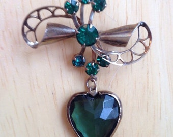 Vintage Green Rhinestone Bow Brooch with Dangling Heart