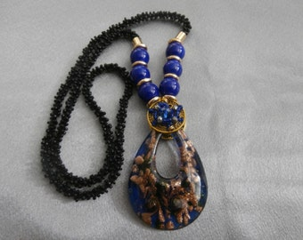 Handmade, Fashionable, Crochet Bead and Murano Glass Necklace