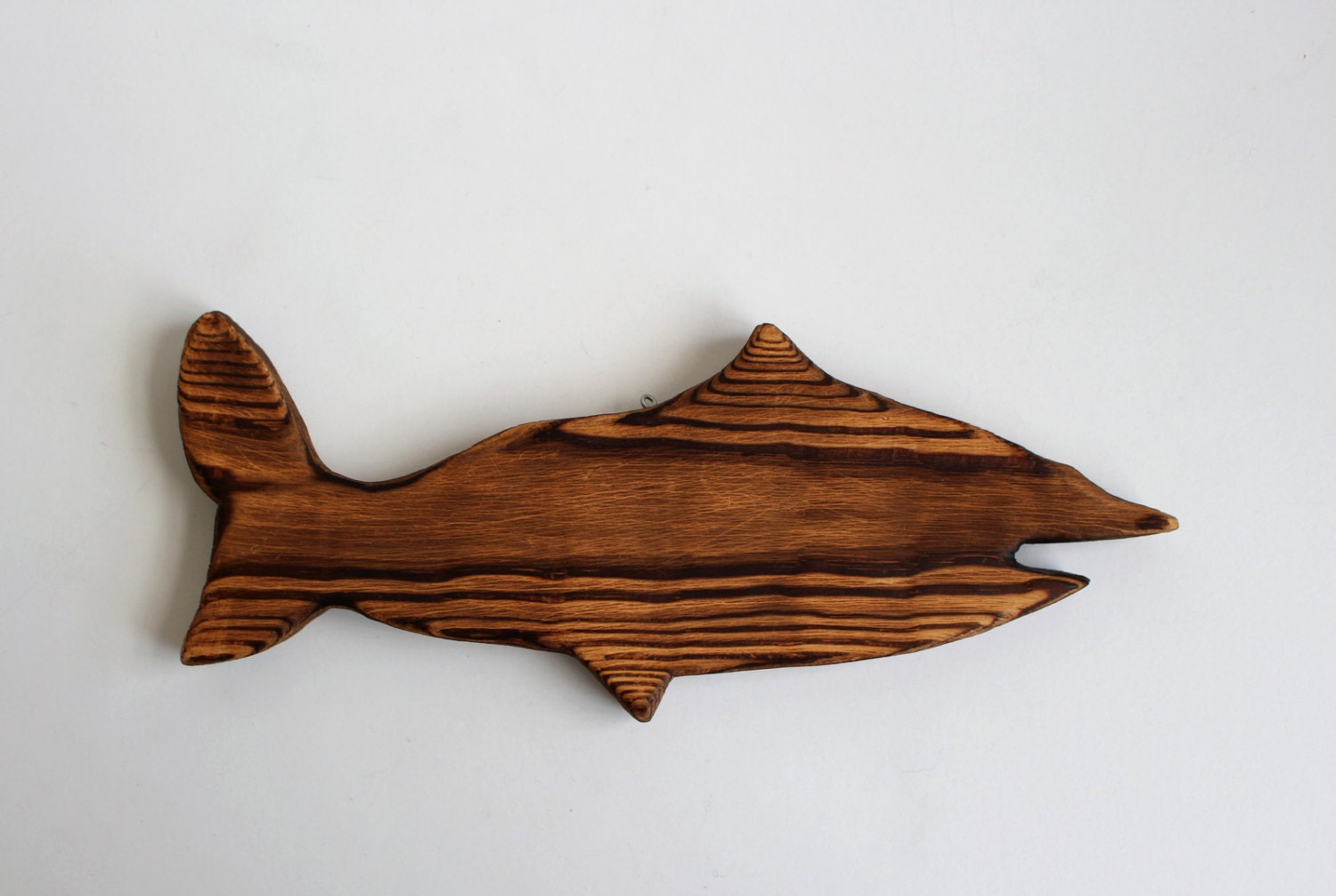 Vintage wood fish wall decor wooden figurine handmade wall for Fish wall decor