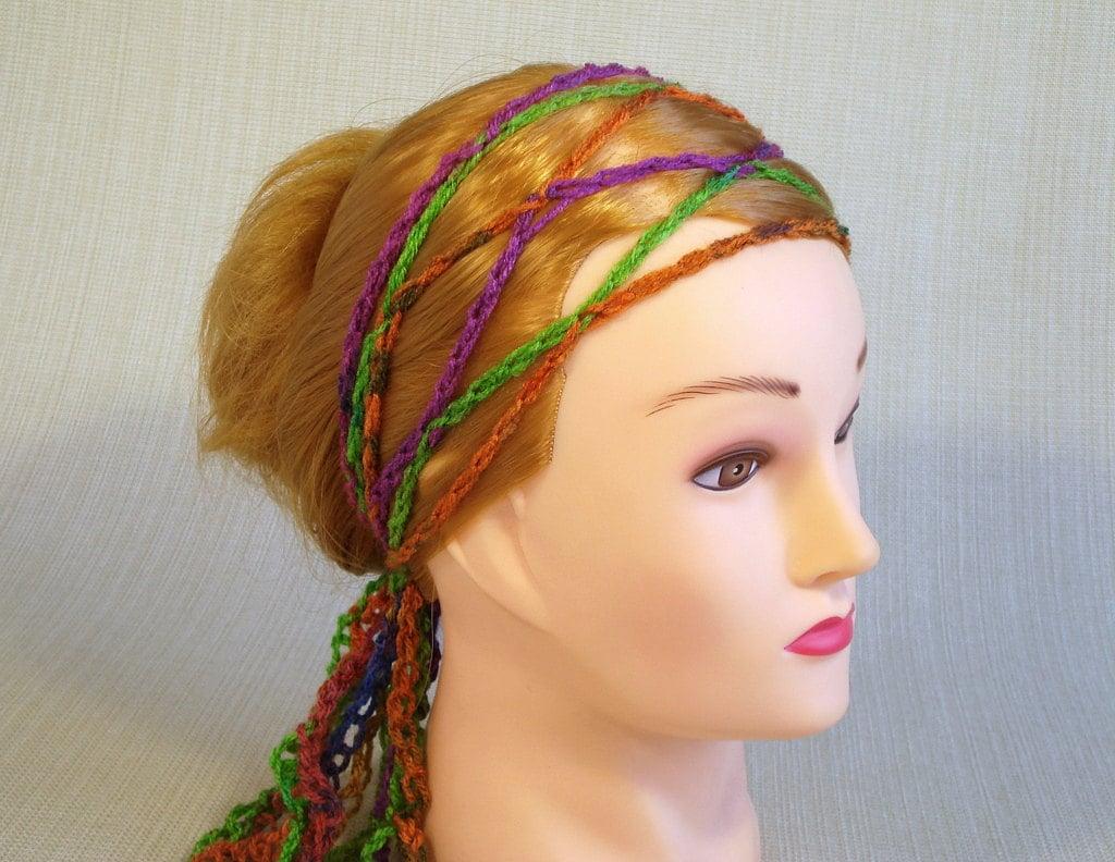 chain crochet headband boho scarf bohemian headband