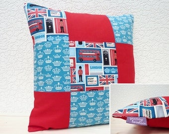 "Handmade 16""x16"" Patchwork Cotton Cushion Pillow Cover in Red/White/Blue Iconic London Images/Royal Crowns Design Prints"