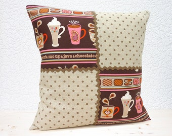 "Handmade Dotty Brown/Bubblegum Pink Coffee Theme Linen and Cotton Pillow Cushion Cover 16""x16"" (indoor)"