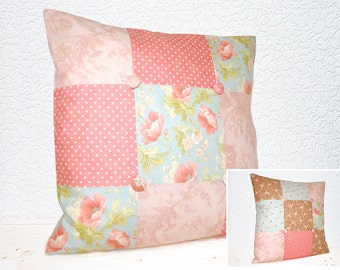 "Handmade 18""x18"" Cotton Cushion Pillow Covers in Buttercup Peach Polka Dot/Summer Poppies/Pink Flowers on Brown Patchwork Design Print"