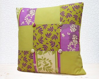 """Handmade 18""""x18""""Patchwork Cotton Cushion Pillow Cover in Lime/Purple Blossom & Leaf Sleeping Beauty Twilight Design Print"""